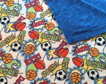Sports Theme Baby/Toddler Self-Binding Flannel Blanket
