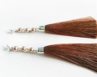 Long Beige Tassel Shoulder Duster Earrings Glass Pearls Dangle Statement Jewelry