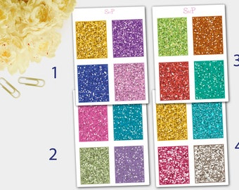 Glitter Stickers, Glitter Effect Stickers, Glitter Planner Stickers
