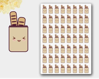 Kawaii Grocery Shopping Stickers in Beige Colors