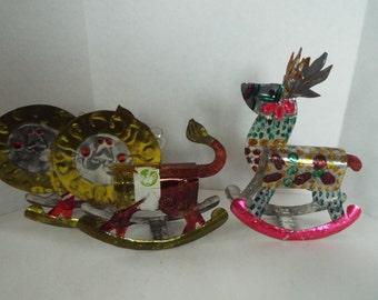3 vintage Mexican folk art  hand pierced tin ornaments rocking horse  lion reindeer Mexican tin