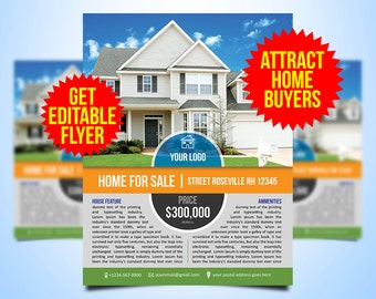 Real Estate Flyers Etsy - House for sale brochure template