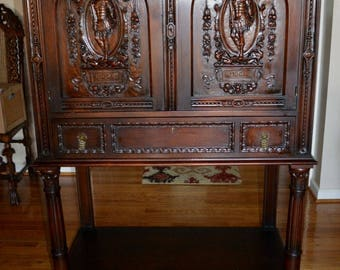 Heavily Carved Spanish Server Liquor Bar Cabinet