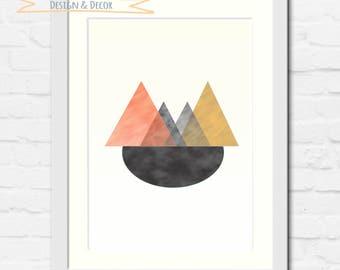 Triangles, Geometric, Shapes, Digital Art, Wall art, Wall decor, Home decor