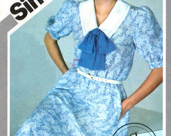80s Simplicity 5582 Pullover Dress with Front Button Closure and Elbow Length Sleeves, Uncut, Factory Folded, Sewing Pattern Size 8-12