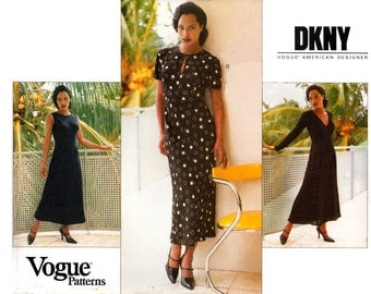 90s Vogue 1773 American Designer DKNY A-line Dress with Skirt and Sleeve Variations, Uncut, Factory Folded, Sewing Pattern Size 8-12