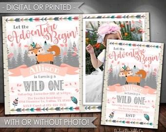 Tribal Fox Birthday Invitation, Tribal Fox Invitation, Woodland Fox Birthday Invitation, Woodland Fox Invitation, Fox Invite, Girl Pink #538