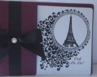 Wine and Black Paris rhinestone border Invitations Sweet 16 Quinceañera Eiffel Tower