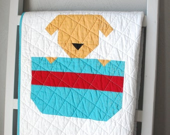 Baby Quilt, Puppy Quilt, Animal Baby Blanket, Heirloom Quilt, Dog Themed Nursery Decor, Toddler Blanket, Blue Cotton Quilt, MADE TO ORDER