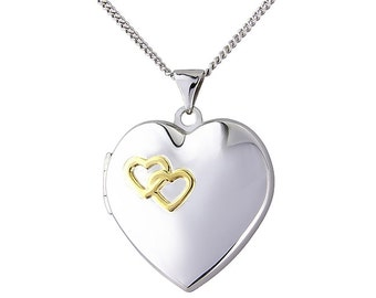 Heart shaped embossed sterling silver Locket with chain
