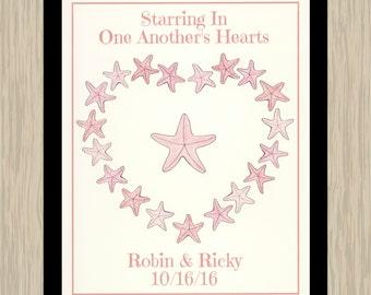 Personalized Love Print, Starfish Print, Valentine Décor, Personalized Valentine Print, Personalized 8x10 Print, Starfish, Valentine Print
