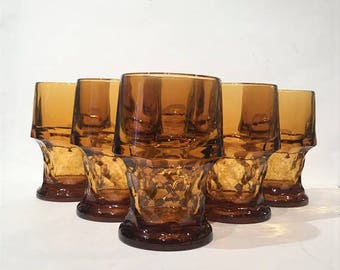 Libbey Tall Amber Georgian Tumblers, Set of 6 Vintage Amber Drinking Glasses, Libbey Georgian Honeycomb, Amber Thumbprint Pattern Glasses