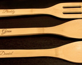 Personalized Bamboo Cookware, Custom Cookware, Personalized Cookware, Engraved Cookware, Engraved Utensils, Bamboo Utensils, 3 pc or 5pc set