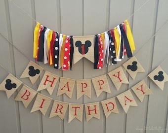 Mickey High Chair Banner, Mickey Mouse Birthday, One Highchair Banner, Mickey Highchair Banner, Mickey Birthday, 1st Birthday, Cake Smash