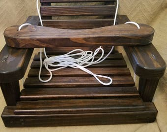 Old Fashioned Wooden Baby / Toddler Swing, Kids Patio Swing, Outdoor Tree Swing...Memory Maker :) Jacobean Stain