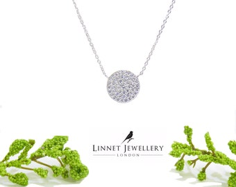 Disc Necklace 925 Cz Silver Yellow Rose Gold
