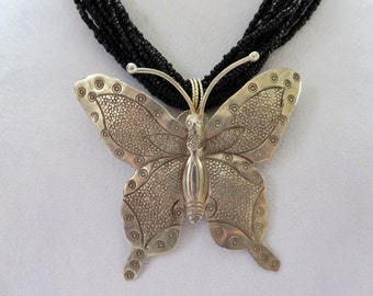 Sterling Silver Butterfly & Black Bead Necklace