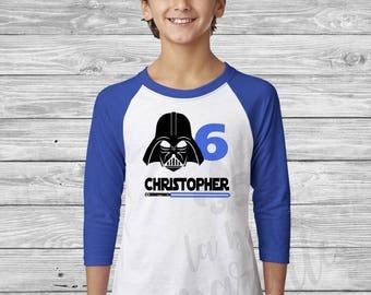 Custom Personalized Darth Vader Raglan Birthday Shirt - Personalized Star Wars Birthday Shirt - Light Saber Birthday Shirt - Star Wars Shirt