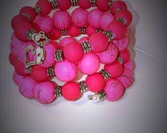 Memory Wire Wrap Bracelet, Pink Memory Wire Wrap Bracelet