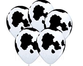 "Cow Balloons 11"" Cow Print Latex Balloons Helium Quality"