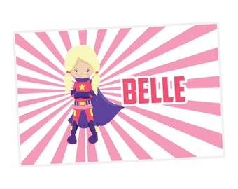Personalized Supehero Placemat - Pink Stripes, Cute Girl Superhero Personalized Laminated Placemat, You Pick Girl - Kids Personalized Gift