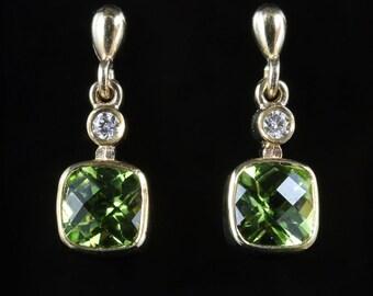 Peridot & Diamond Gold Earrings 9ct Gold 3ct Peridots