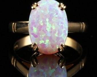 Opal Gold Ring 6ct Solitaire Opal Gold Ring