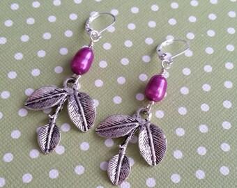 Purple Orchids . Leverbacks . Earrings