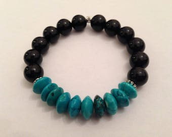 10mm Onyx Beads Bracelet, Mens Bracelet, Energy Mala, Gemstone Bracelet, Calming Bracelet, Black Bracelet, Turquoise Bracelet, Gift for Him