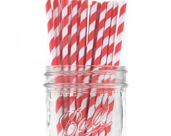 Paper Straws | Red & White Striped Paper Straws 7.75"