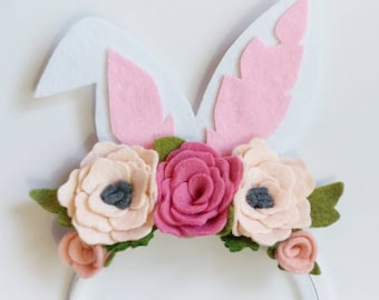 Easter Crown - Floral Bunny Headband - Easter Floral Crown - Bunny Floral Crown - Felt Floral Crown - Bunny Ears Headband - Bunny Ears