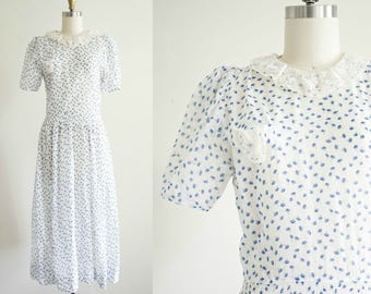 1930s dress . vintage 30s cotton day dress. semi sheer midi white printed summer dress . O'rama' s . small