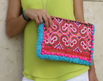 Boho Clutch with  Pom Pom , Pom Pom bag , Hmong bag ,Bohemian Bag ,Ethnic Clutch ,Unique style