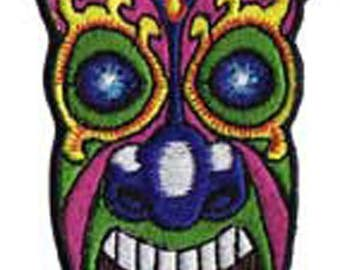 """Hawaii Flower Head Purple Tiki Iron On Patch 4.5"""" x 2"""" Free Shipping by C&D Visionary P-3815"""