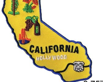"California State Map Iron On Patch 3.75"" by Fuzzy Dude Free Shipping 2330"