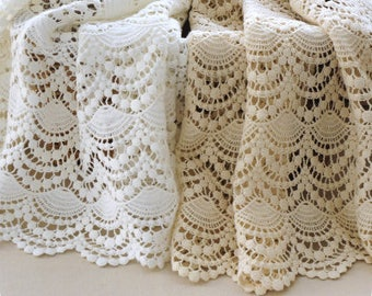 TheFabriqBoutique - Vintage French Cotton Lace Fabric Crocheted Lace Scalloped Lace Bridal Gown Home Decor
