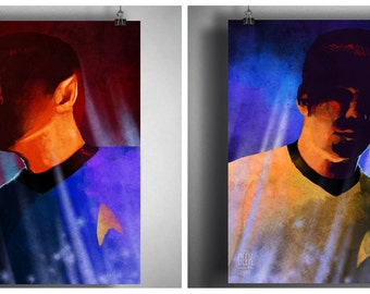 Star Trek inspired Vulcan and Space Captain Art Prints