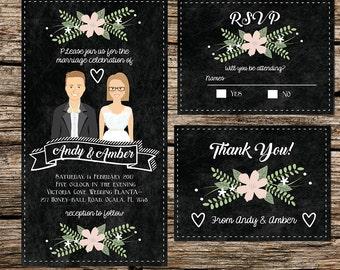 Custom Illustrated Wedding Invitation -  Chalkboard - Vintage - Couple drawing