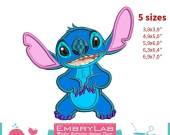 Applique Stitch. Lilo & Stitch. Machine Embroidery Applique Design. Instant Digital Download (16281)