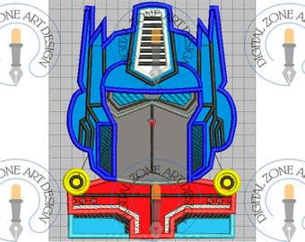 Optimus Prime Portrait Head-Transformers Applique-Machine Embroidery Designs - INSTANT DOWNLOAD