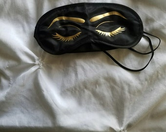 Custom Sleep Mask-Eye Mask-Bridesmaid Gift-Embroidered Sleep Mask-Black Sleep Mask