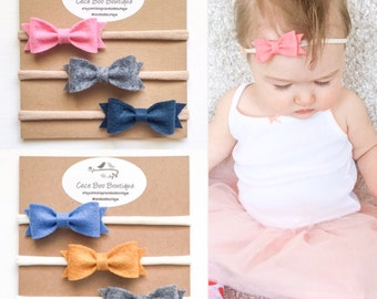 Felt Bow Headband - Pick your own - Baby headband - Newborn headband - Baby nylon headband - Baby photo prop
