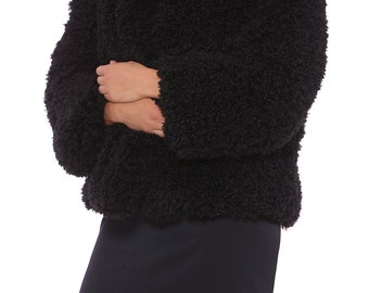 Black Fluffy Jacket / Winter Womens Clothing / Outerwear Warm Coat /Eveningwear / shaggy fur coat / Fluffy coat