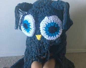 Crochet Hooded Owl Blanket child/teen/adult