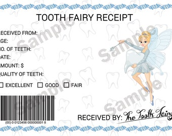 Digital Download, Tooth Fairy Receipt, Printable Tooth Fairy Receipt
