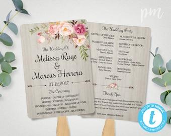 DIY Wedding Program Fan Template, Bohemian Floral Wedding Programs, Printable Ceremony Program Template, Boho Watercolor Flowers Wedding Fan