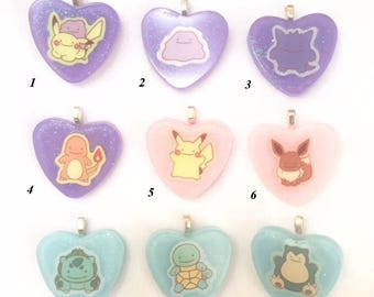 Small Anime Resin Heart Charm