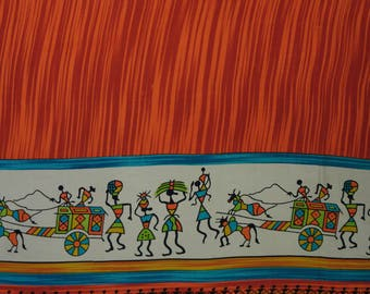 """Tribal Printed Fabric, Dress Material, Apparel Fabric, Sewing Accessories, Rayon Fabric, 42"""" Inch Fabric By The Yard ZBR460A"""