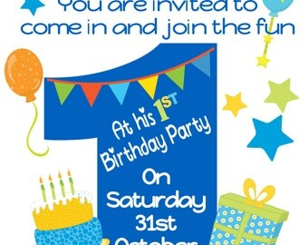 Personalised Boys 1ST 2ND Large age Birthday Party Invitations x 10 with envelopes