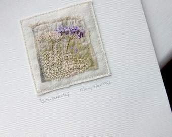 cow parsley, small unframed art, mini textile art, mini embroidery, mixed fabric art